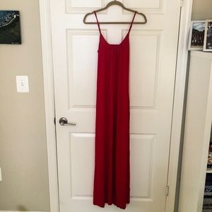 Red maxi dress with back detail